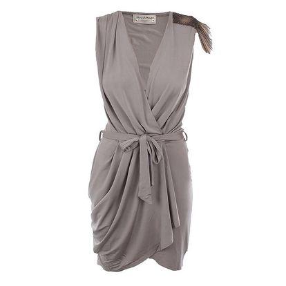 Dámské šedohnědé zavinovací šaty MET