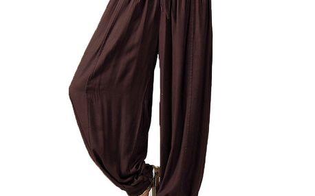Dámské tmavě hnědé volné kalhoty Aller Simplement