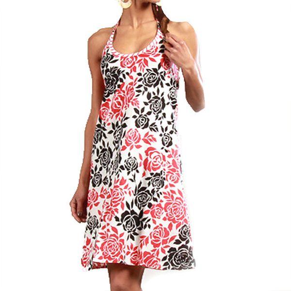 Dámské šaty s růžovými a černými růžičkami Aller Simplement
