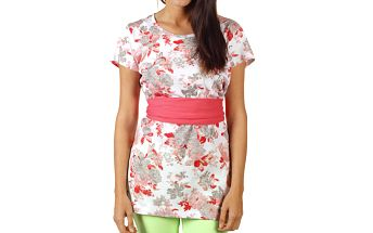 Dámské prodloužené korálově květované tričko Ada Gatti