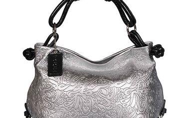 Dámská stříbrná vzorovaná kabelka POON Bags