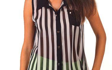 Dámská černo-bíle proužkovaná košile bez rukávů Ada Gatti