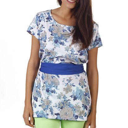 Dámské prodloužené modře květované tričko Ada Gatti