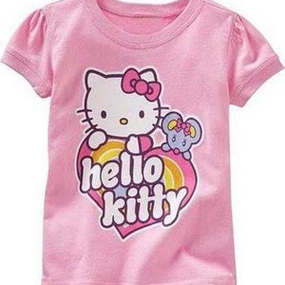 Bavlněné dívčí triko krátký rukáv Hello Kitty HEART RAINBOW - vel. 5 ROKY