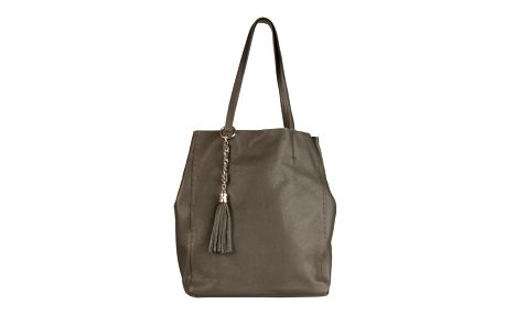 Dámská šedá kožená kabelka se střapcem Made in Italia