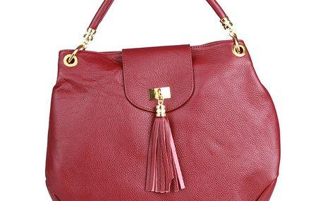 Dámská velká červená kabelka se střapcem Made in Italia
