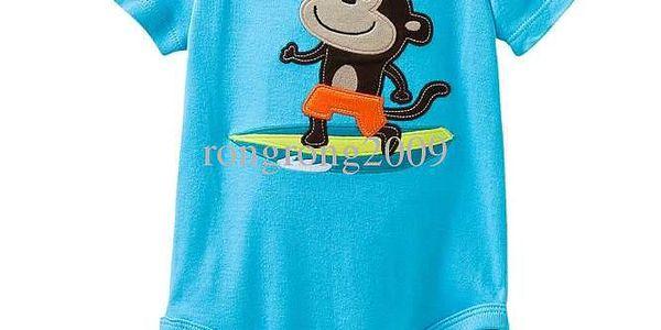 Úžasné kojenecké chlapecké body krátký rukáv s výšivkou - Opička vel. 6 m