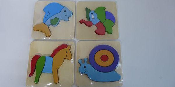 Dřevěná skládačka - mini puzzle pro nejmenší - delfín