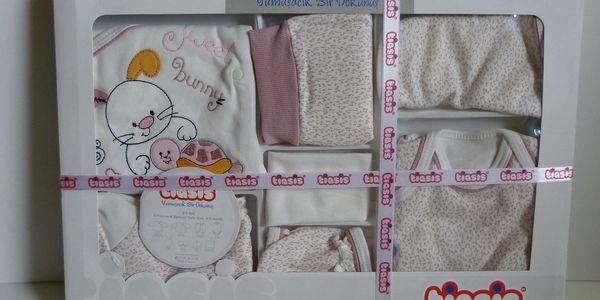 8D 8 dílná souprava do porodnice Králíček a písmena - starorůžová, 100% bavlna