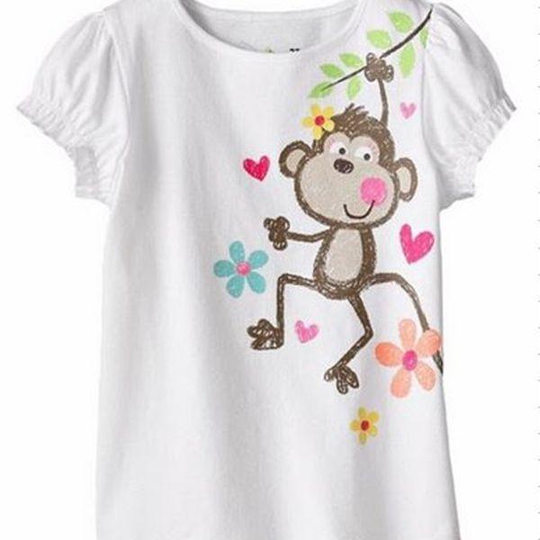 Roztomilé dívčí triko krátký rukáv - Monkey vel. 18 m