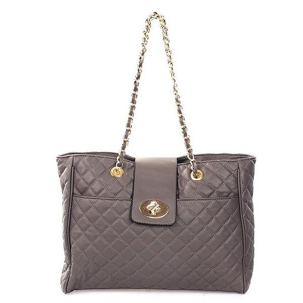 Dámská prošívaná kabelka v šedé barvě London Fashion