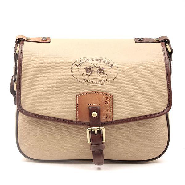Dámská béžová kabelka s hnědými lemy La Martina