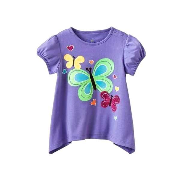 Krásné bavlněné dívčí triko - tunika krátký rukáv - Motýlci vel. 4 roky