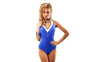 Dámské blankytně modré jednodílné plavky Aquarilla s knoflíčky