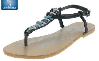 Dámské černé sandály s barevnou dekorací Beppi