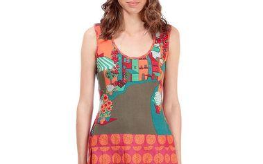 Dámské oranžovo-zelené šaty Rosalita McGee s potiskem