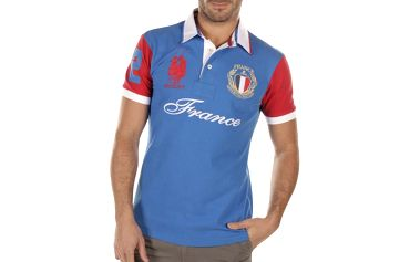 Pánské modré polo triko s červeným rukávem Bendorff Next
