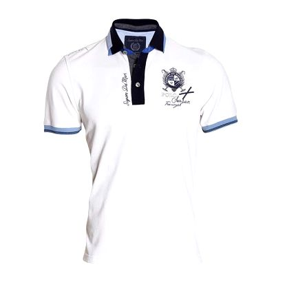 Pánské bílé polo tričko s modrými lemy Signore dei Mari