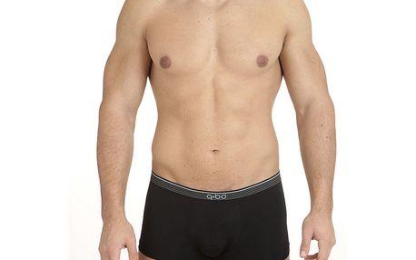 Pánské černé boxerky s pruhovanou gumou v pase QBO