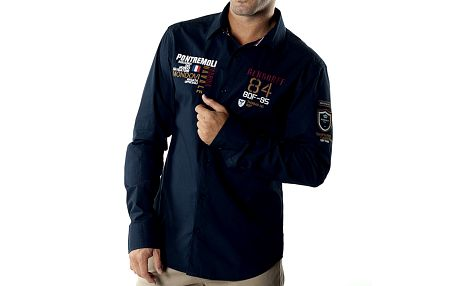Pánská tmavě modrá casual košile s nášivkami Bendorff