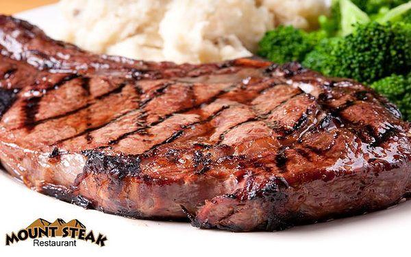 2x 300 g Hanger steak se šťouchanými brambory v restauraci Mount Steak