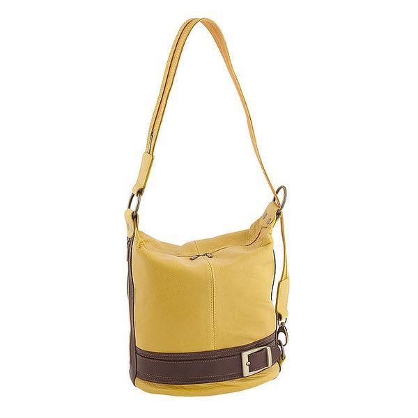 Dámská žluto-hnědá kožená kabelka Classe Regina