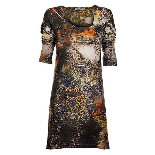 Dámské hnědo-oranžové šaty Snake Milano se zvířecím potiskem a kamínky