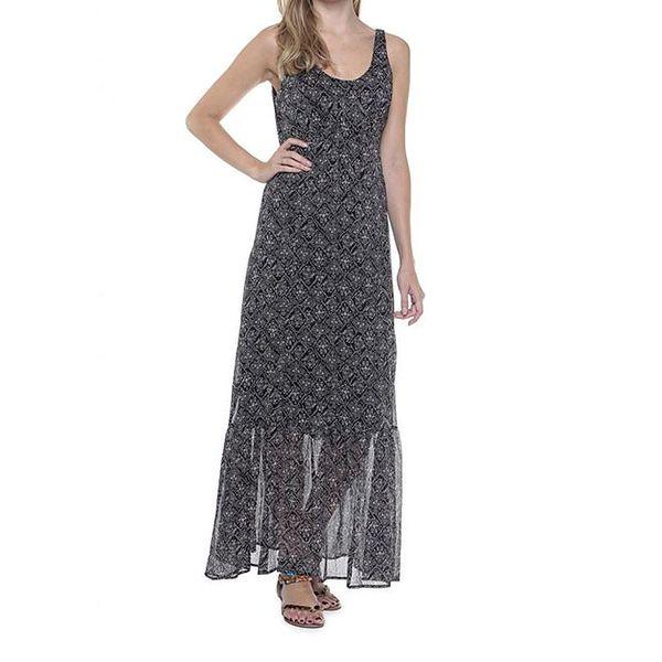 Dámské dlouhé černé šaty se světlým vzorem Guess