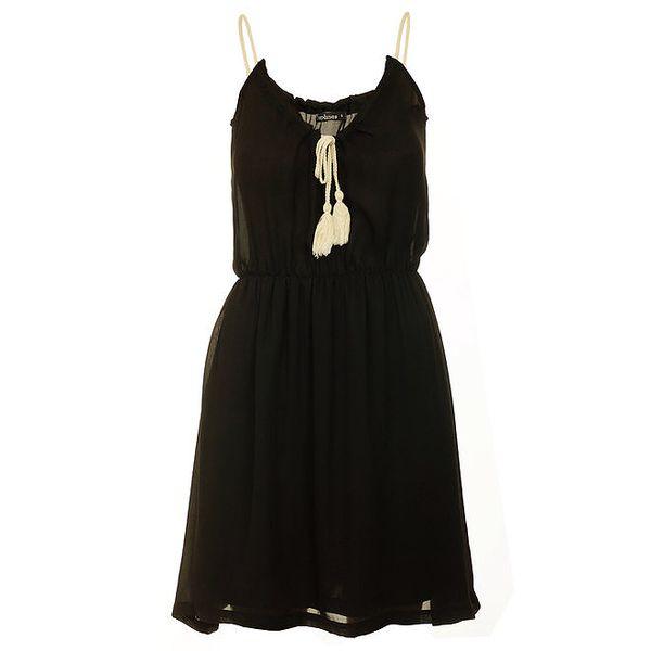 Dámské černé šaty s krémovým zavazováním Daphnea