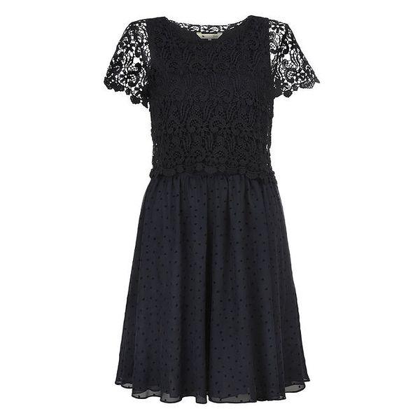 Dámské modročerné šaty s krajkou Yumi