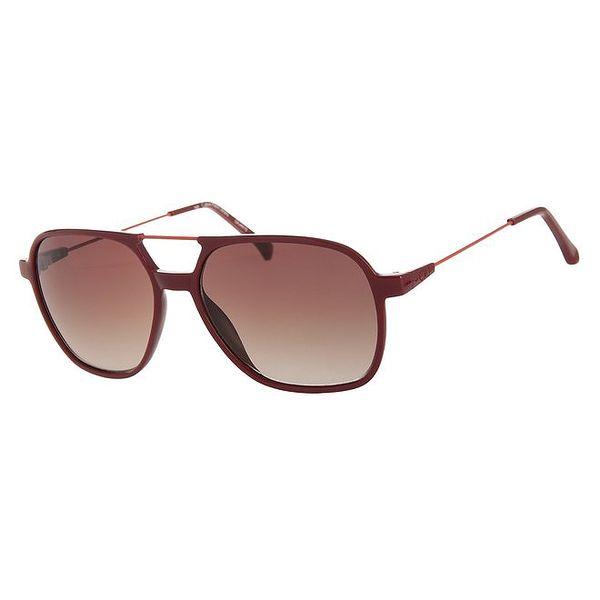 Dámské tmavě červené sluneční brýle Calvin Klein Jeans s kovovými detaily a zrcadlovými skly