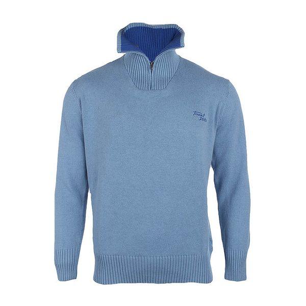 Pánský světle modrý svetr se stojáčkem Timeout