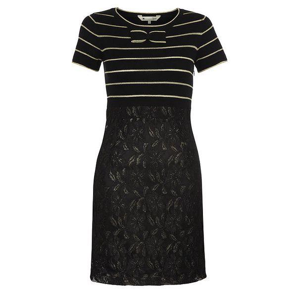 Dámské černé šaty s pruhovaným topem a mašličkou Yumi