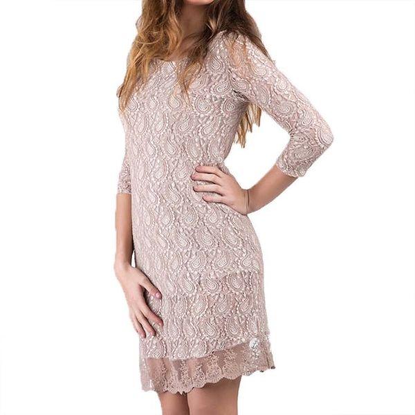 Dámské starorůžové šaty s krajkou Keysha