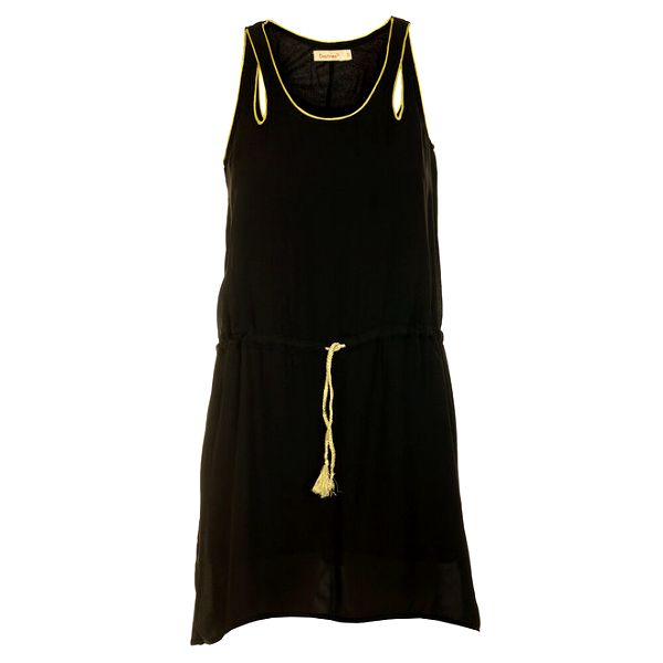 Dámské černé minišaty se zlatými detaily a prostřihy Daphnea