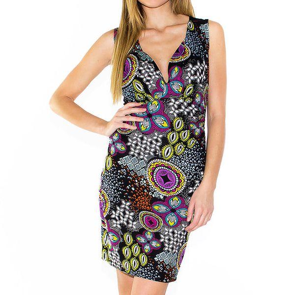 Dámské upnuté černé šaty se vzorem Purple Jam