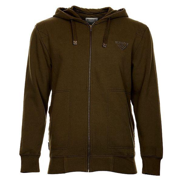 Pánská khaki mikina s kapucí