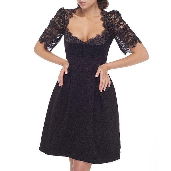 Dámské černé šaty s krajkovými rukávy
