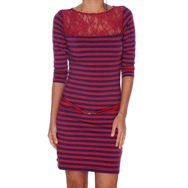 Dámské červeno-modré pruhované šaty s krajkou Giorgio di Mare