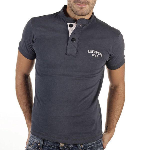 Pánské modrošedé tričko s knoflíčky New Caro