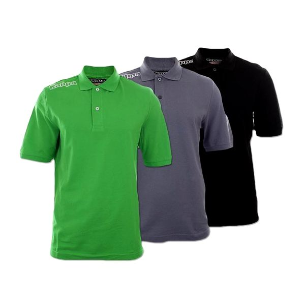 Set tří pánských polo triček Kappa - černé, šedé a zelené