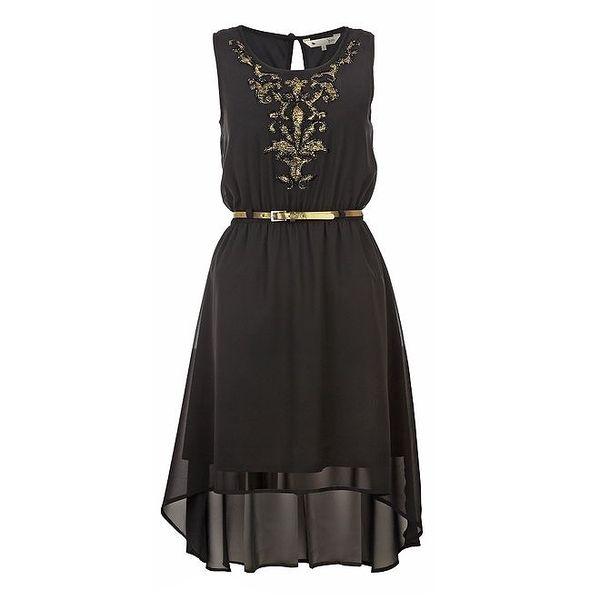 Dámské černé vzdušné šaty se zlatou výšivkou Yumi