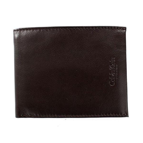 Pánská hnědá hladká peněženka z kůže Calvin Klein