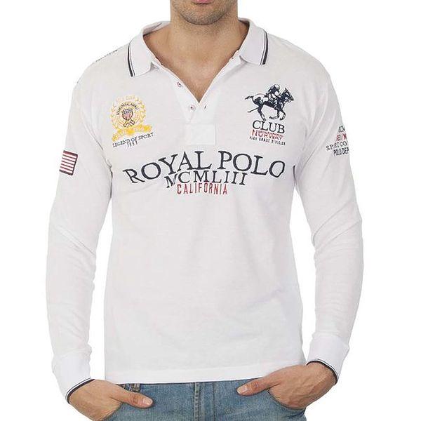 Pánské bílé polo triko s dlouhým rukávem a nápisy Geographical Norway
