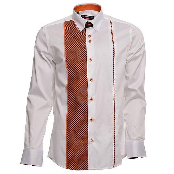 Pánská bílá košile s oranžovými detaily Brazzi