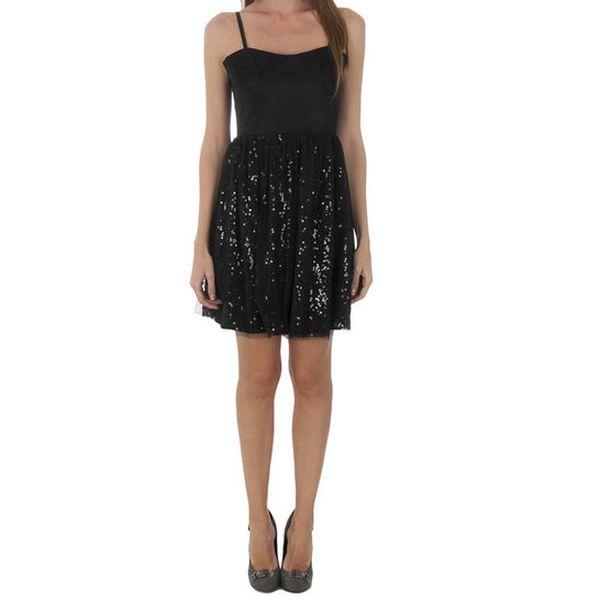Dámské černé koktejlové šaty Naf Naf s flitry
