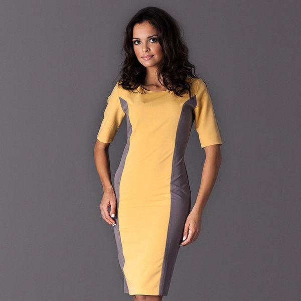 Dámské žluté šaty s šedými bočními lemy Figl