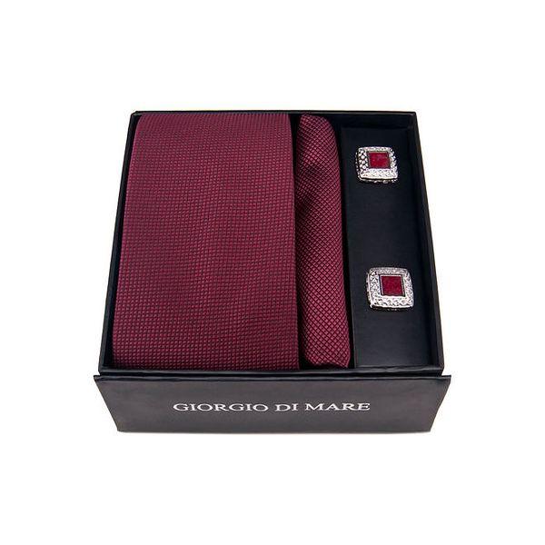 Pánská sada - manžetové knoflíčky, tmavě červená kravata a kapesníček Giorgio di Mare