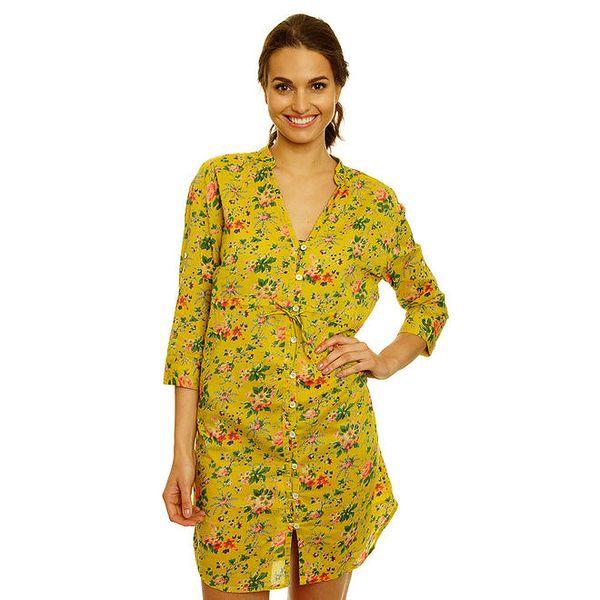 Dámské žluté košilové šaty s květinovým vzorem Nice Things