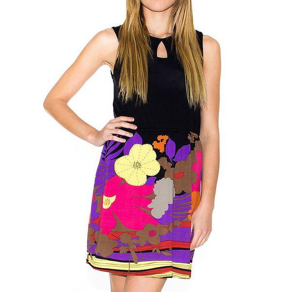 Dámské černé šaty s barevnou sukní Purple Jam
